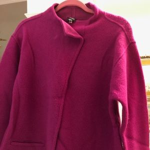 Eileen Fisher Fuchsia Lambswool Blend Jacket-Small